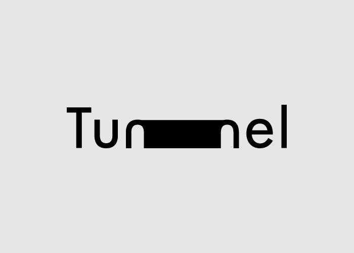 caligrama a cargo de Ji Lee de la palabra Tunnel