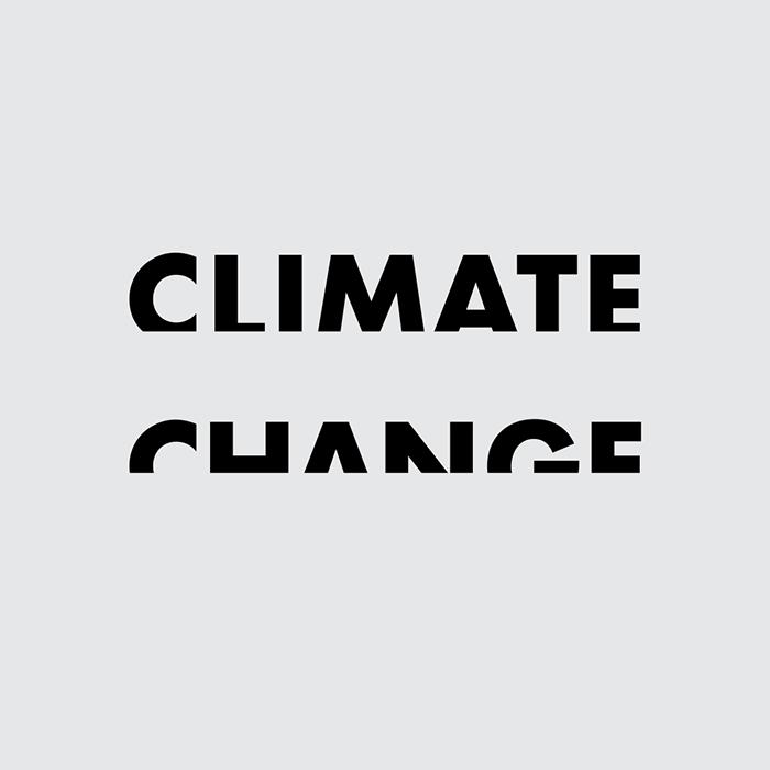 caligrama de la palabra climate change a cargo de Ji Lee