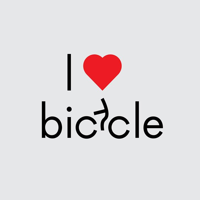 caligrama de Ji Lee que muestra un logotipo que dice yo amo bicicleta