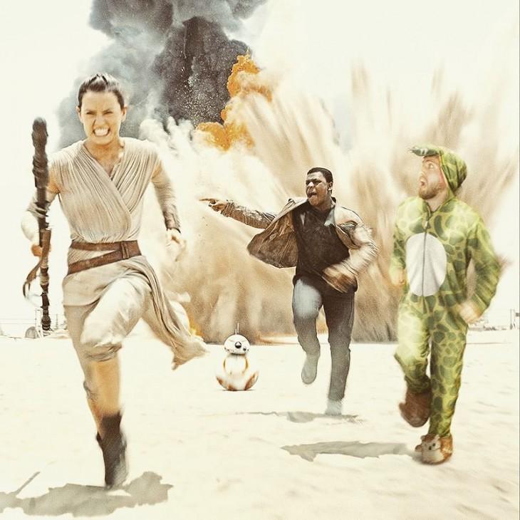 chico vestido de dinosaurio photoshopeado dentro de una escena de la película Star Wars