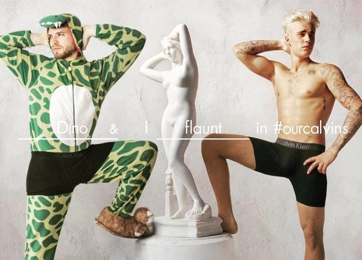 Lorenz Valentino photoshopeado a lado de Justin Bieber posando con una obra de arte