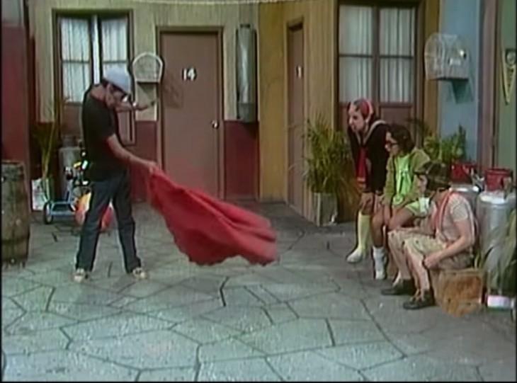 Don Ramón como torero en la vecindad del chavo del 8