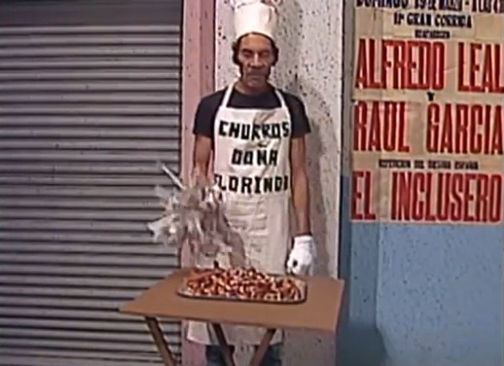 Don Ramón vendiendo churros