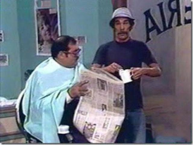 Don Ramón en una escena donde sale de barbero