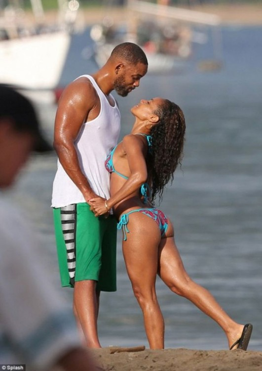 Will Smith y Jada Korent Pinkett en la playa