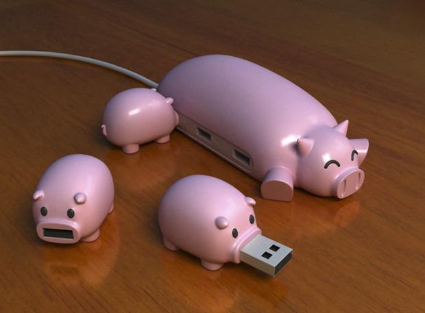 MULTIPUERTO DE CERDITOS CON USB