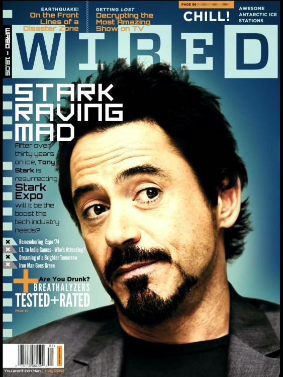 Tony Stark en la portada de una revista Wibed