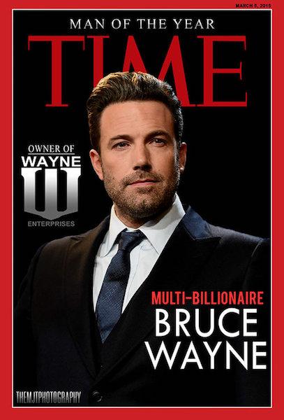 Bruce Wayne como la portada de la revista Time