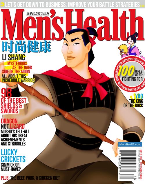 Shang de la película Mulan en la portada de la revista Men´s Health