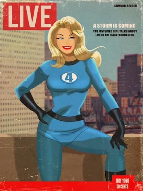 Sue Storm de los cuatro fantástico en la portada de la revista Live