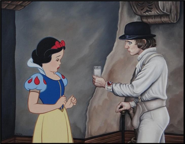 blanca nieves recibiendo un vaso de leche por parte de Alex DeLarge