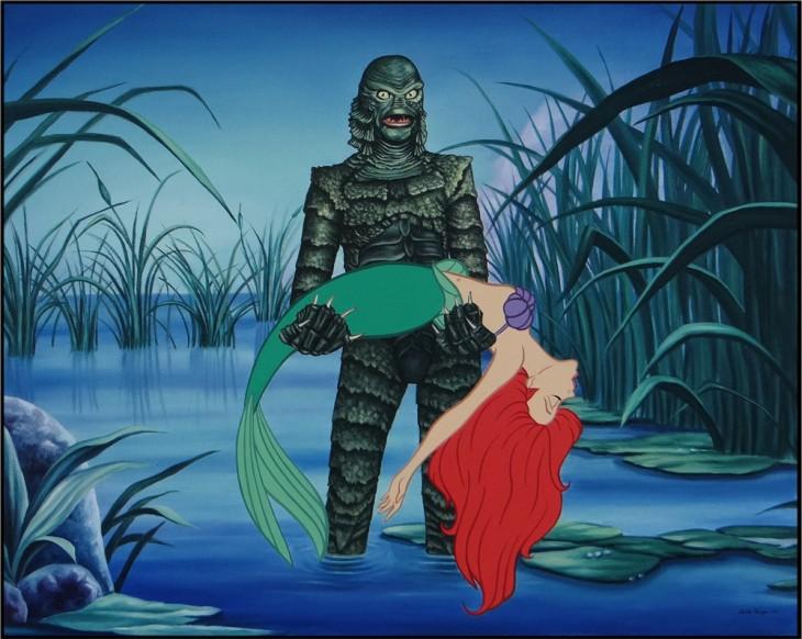 sirenita siendo cargada por el monstruo del pantano