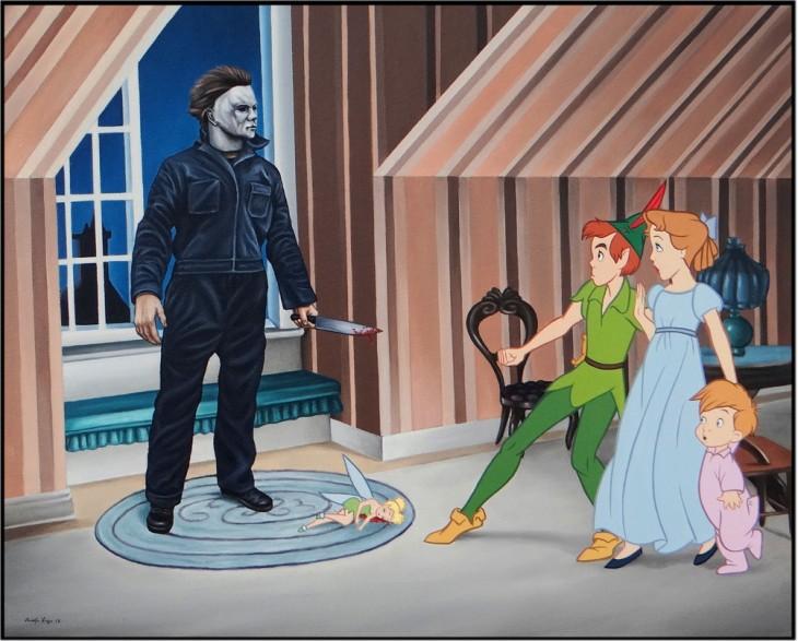 Peter Pan y Wendy siendo asustados por el villano de cine Myers