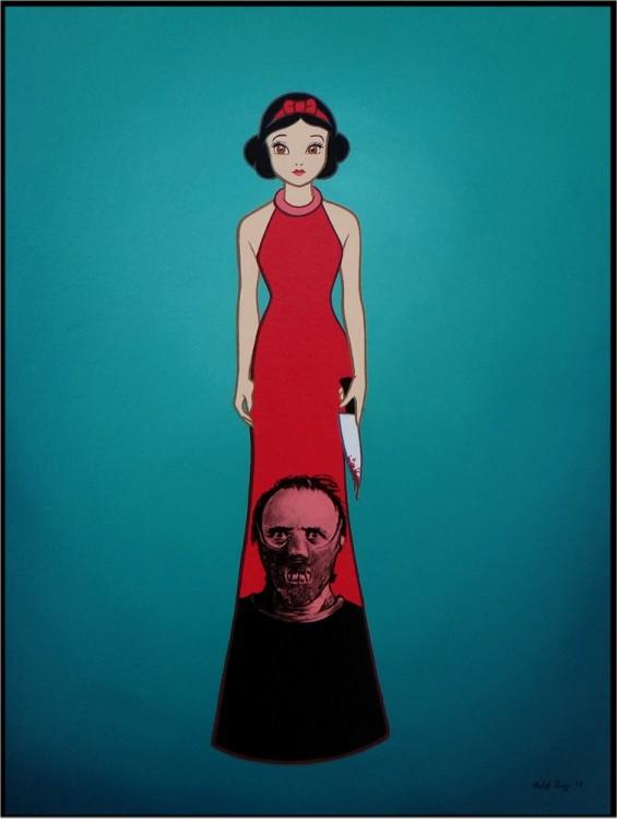 blanca nieves con un vestido rojo que tiene la cara Hanibbal Lecter