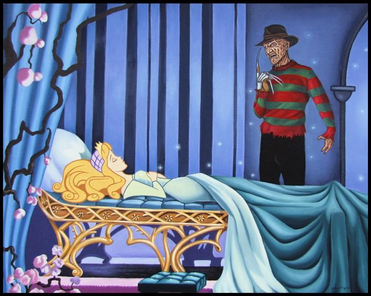 Ilustración de la Bella Durmiente con el villano Freddy Krueger