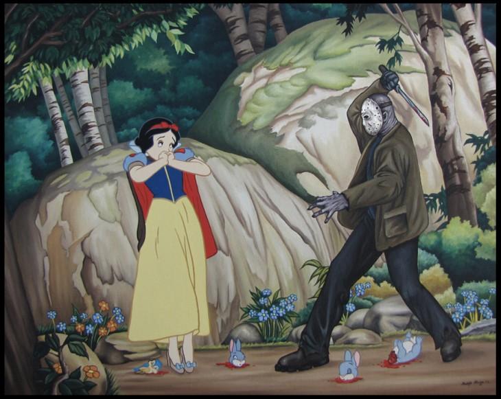 ilustración donde blanca nieves está a punto de ser asesinada por Jason Voorhees