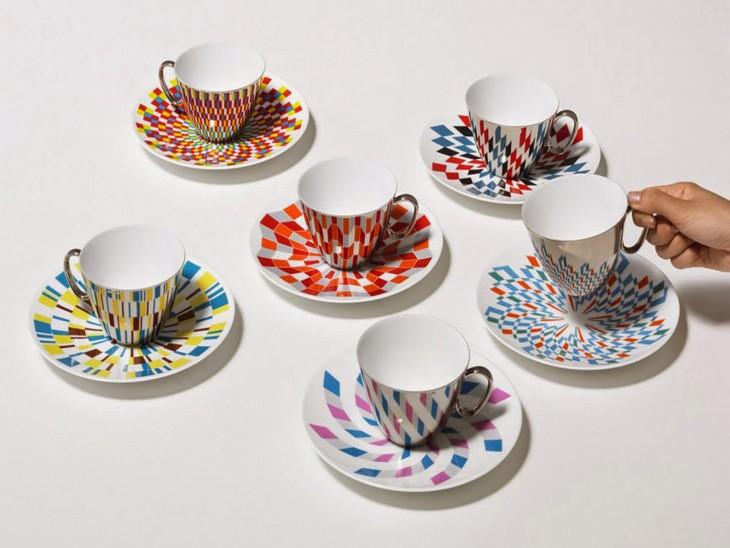 juego de té que crea ilusiones ópticas