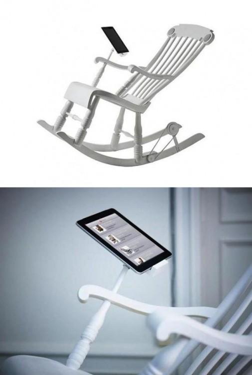 mecedora con cargador para iPhone o iPad