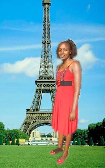photoshop de una chica keniana cerca de la torre eifel