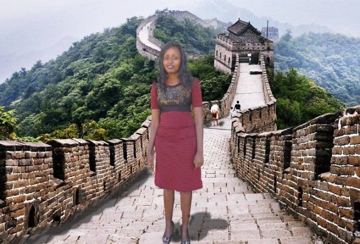 photoshop de la chica Seve Gat´s sobre la muralla china