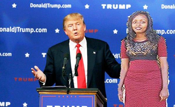 photoshop de la chica keniana a lado de Donald Trump