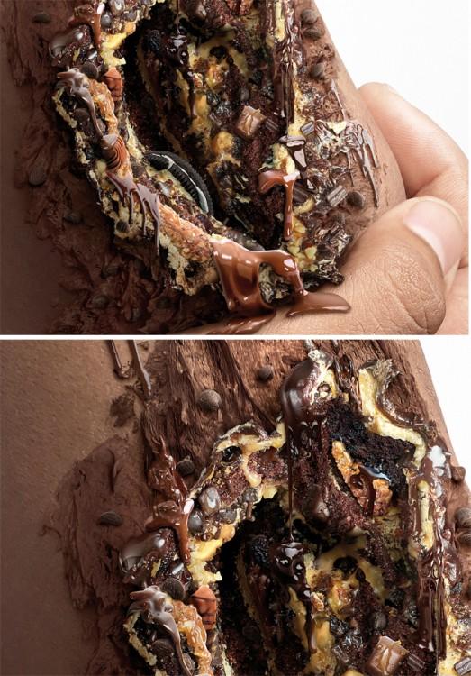 Sweet Kills campaña contra la diabetes que muestra una herida hecha con postres de chocolate