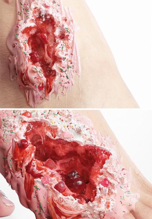 Sweet Kills campaña contra la diabetes muestra con postres las heridas en personas con diabetes