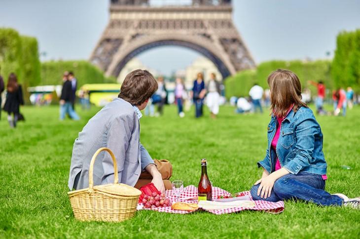 un romantico dia de campo frente a la torre eiffel
