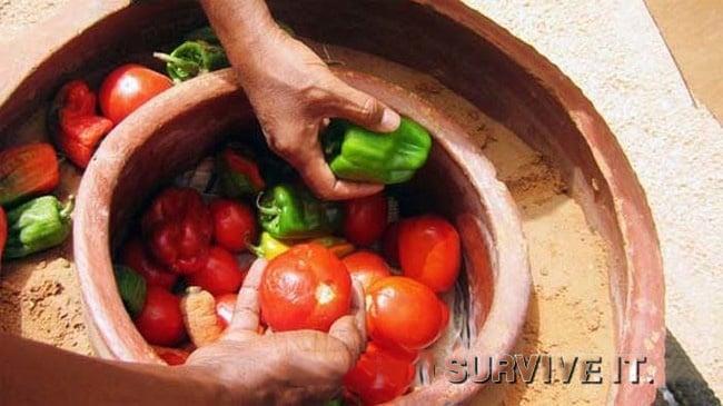 vasos de barro para manter vegetais frescos