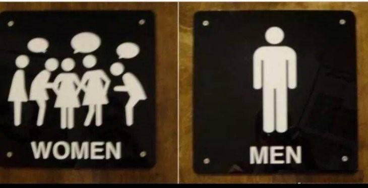 letreros de baño: mujeres platicando, un hombre solo