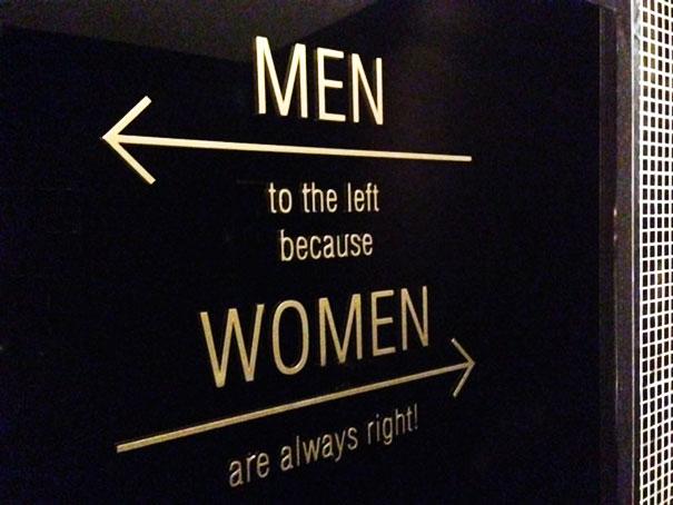 letreros de baños, hombres a la izquierda, mujeres a la derecha