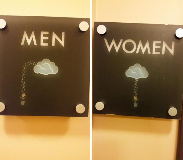 letreros de baño, nube regando una flor
