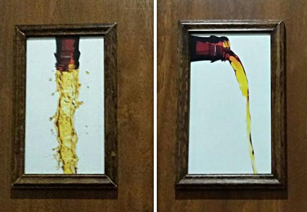 señales de baños una con la cerveza cayendo de lado, otra con la cerveza vaciándose directamente