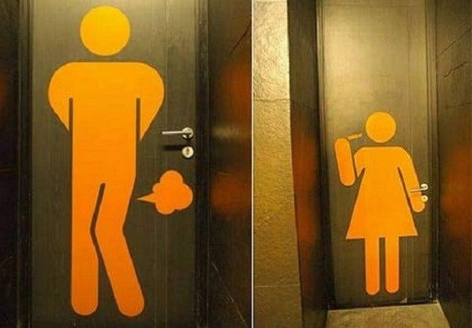 Imagen Baño Para Mujeres:Funny Restroom Toilet Signs