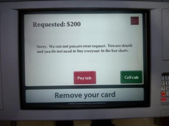 pantalla de cajero que no permite hacer retiros por estar muy borracho