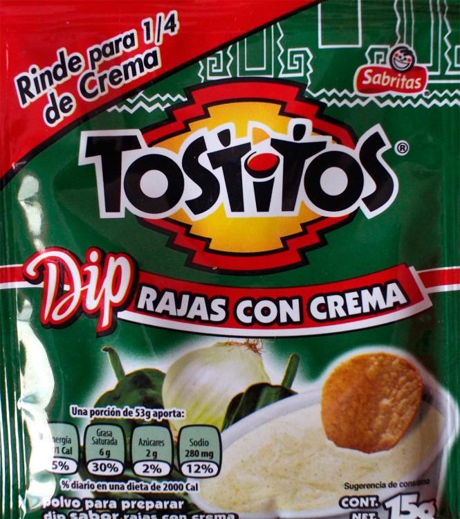 bolsa de dip de rajas con crema de tostitos