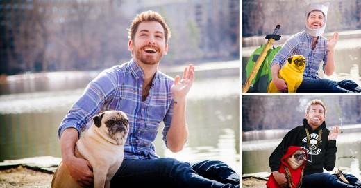 Trollean a hombre con su perro