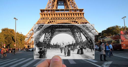 Julien Knez fotógrafo Francés tras encontrar fotos antiguas de París las fotografío junto a la ciudad como se encuentra actualmente