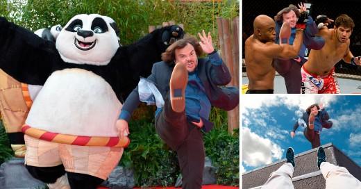 Batalla de photoshop a Jack Black, que durante la premiere de la reciente película Kung Fu Panda 3