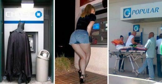 imágenes divertidas de personas retirando dinero de los cajeros automaticos