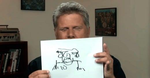 Hombre ciego dibuja diferentes cosas como se imagina que son