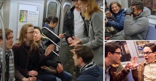 4 pares de gemelos les juegan una divertida broma a los pasajeros de un metro de Nueva York