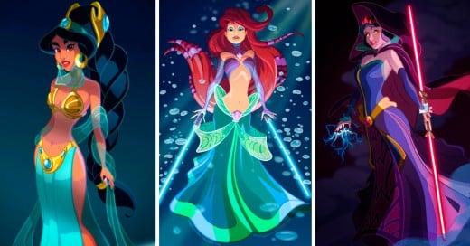 Princesas Disney si fueran personajes de Star Wars