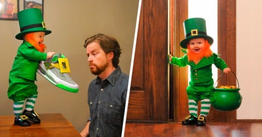 Padre disfraza a su hijo de 6 meses como Duende para el día de san patricio
