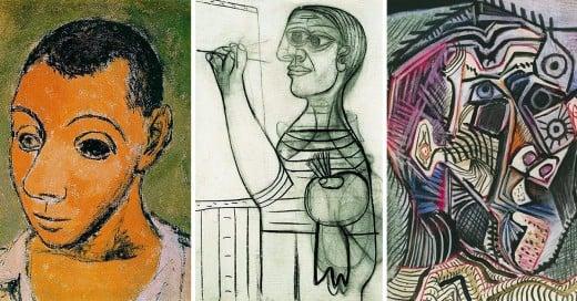 Evolución del autorretrato de Picasso
