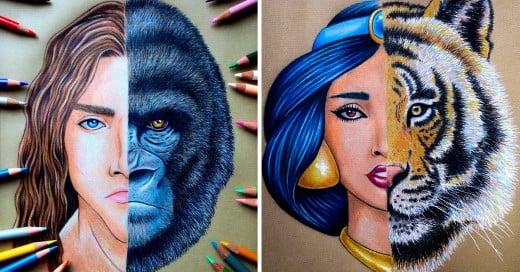 Dibujos combinando rostros de personajes famosos de películas de disney
