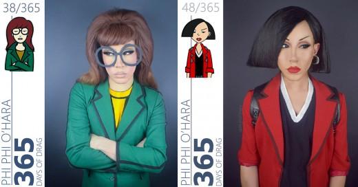 Drag queen y sus personajes de caricatura