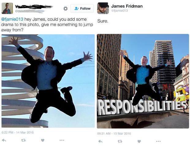 james fridman, hombre saltando de las responsabilidades