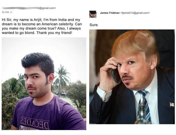 james fridman hombre quería ser una celebridad americana, lo convierte en Donald Trump