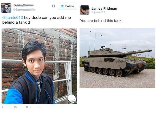 james fridman, hombre pidió estar atrás de un tanque